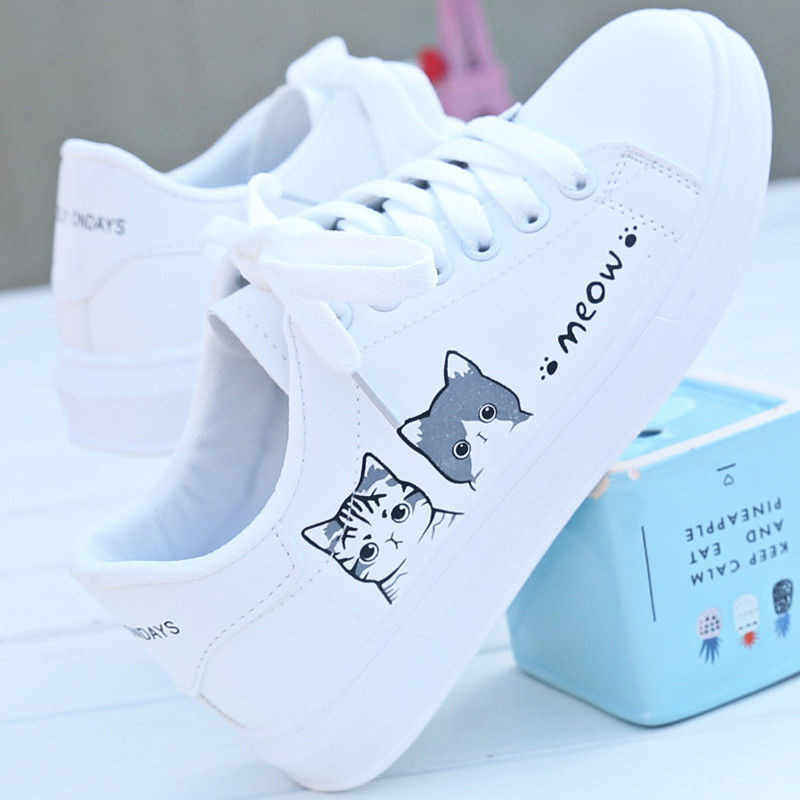 2019 New Arrival Fashion Lace,up Women Sneakers Women Casual Shoes Printed  Women Pu Shoes Cute Cat Canvas Shoes