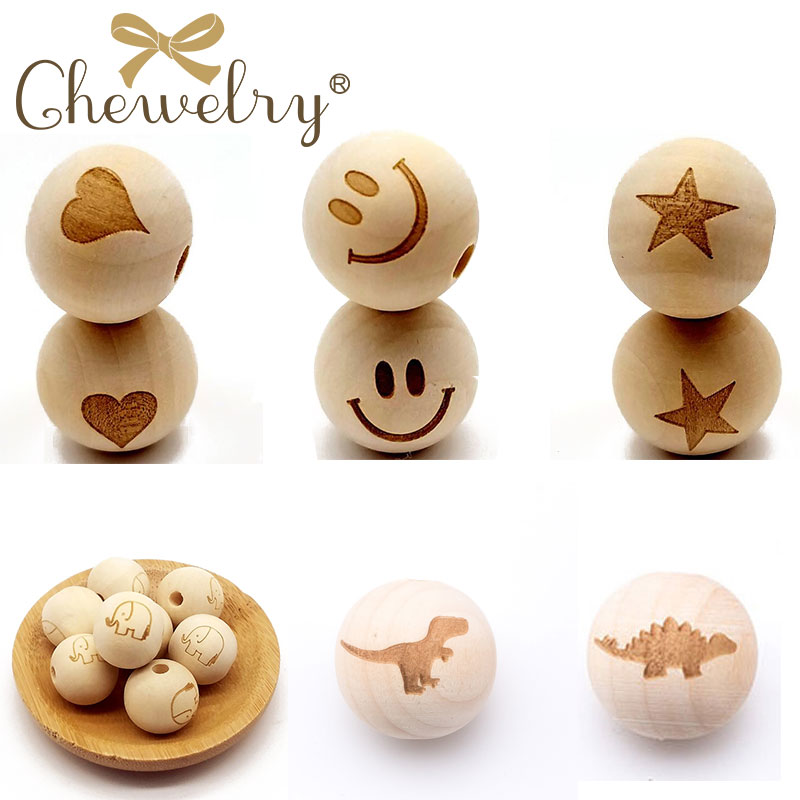 DIY 10Pcs Wooden Beads Printing Beads Dinosaur Natural Ball Round Spacer 20mm Natural Color Baby Teether Lead-Free Wooden Balls