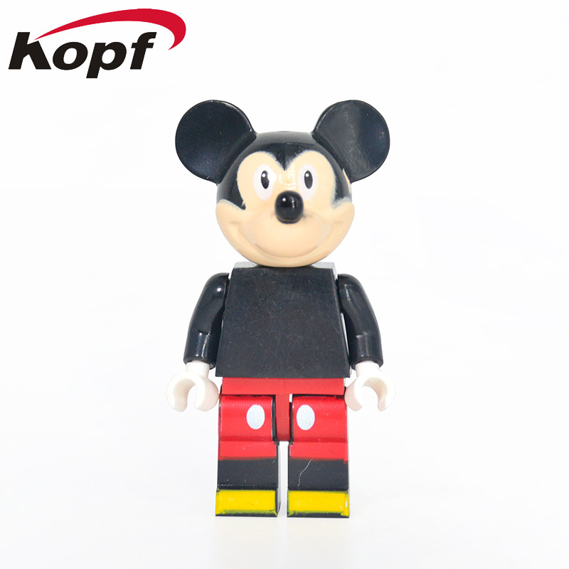 Single Sale Super Heroes Mickey Mouse Cartoon Cute Animal DIY Assemble Bricks Model Building Blocks Children Gift Toys DA010 xh 287 super heroes avengers single sale antman building blocks assemble blocks bricks model children bricks toys