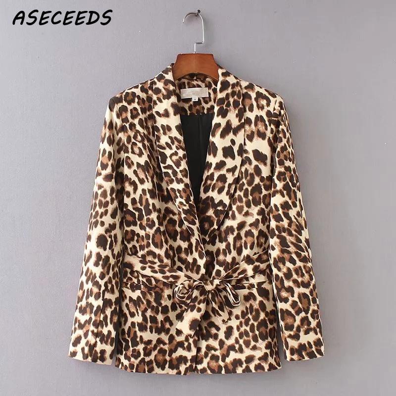 Women Blazers And Jackets Long Sleeve Blazer Feminino Leopard Print Outerwear Korean Office Lady Work Wear Coat Fall 2018 Autumn