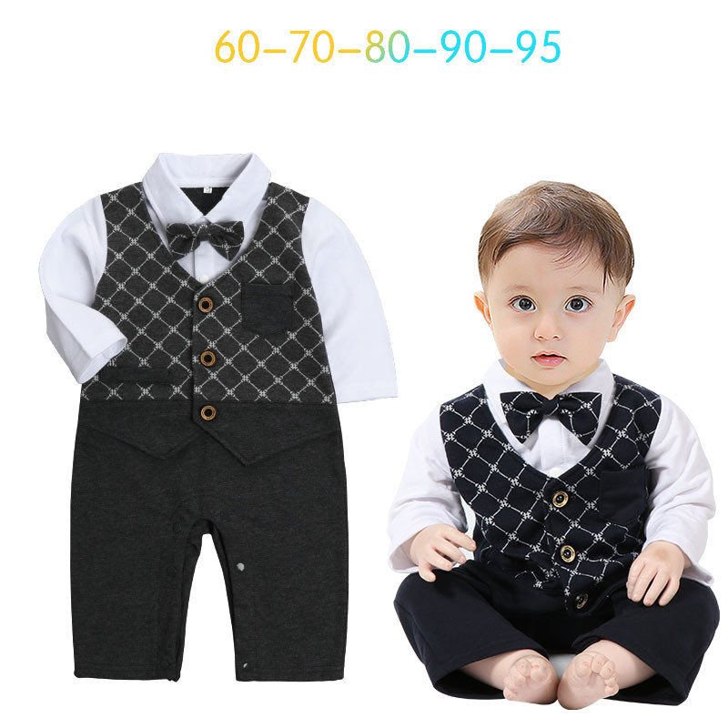 2017 New autumn infant long sleeve rompers fashion baby cotton clothes kids jumpers cool gentleman plaid bow vest rompers 17S907