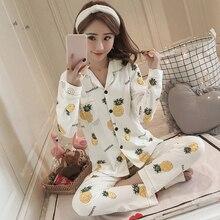 Plus Size 100% Cotton Pajama Set for Women 2019 Spring Autumn Long Sleeve  Pineapple 92610713e