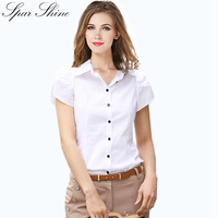 SPARSHINE Cotton Work Wear Women Short Sleeve Shirt Turn Down Collar Blusas Femininas Tops Elegant Ladies