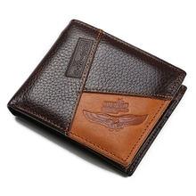 Nueva llegada de Marca Corta de Los Hombres carpeta con bolso de la moneda titular de la tarjeta de cuero Genuino del hombre monedero de piel de bolsillo con cremallera interior