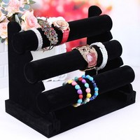 New 3 Tier Sturdy Black Velvet Jewelry Display T Bar Stand Holder for your Bracelets & Watches free shipping