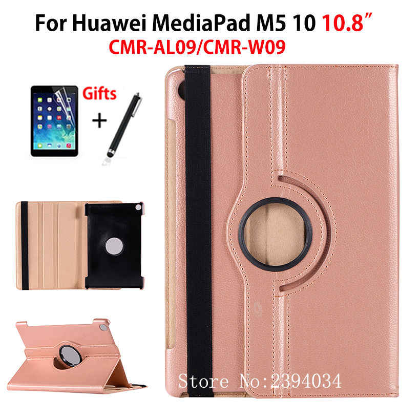 "360 Degree Rotating Case For Huawei MediaPad M5 10 10.8"" CMR-AL09 CMR-W09 Case Cover Funda Tablet Stand Shell+Stylus+film"