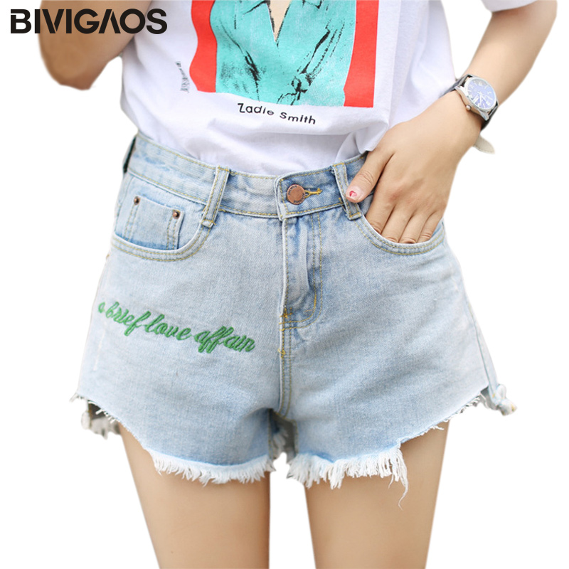 BIVIGAOS 2017 Summer Women Green Letters Embroidered Ripped Jeans Shorts Light Color Denim Shorts Wide Leg A-line Short Jeans