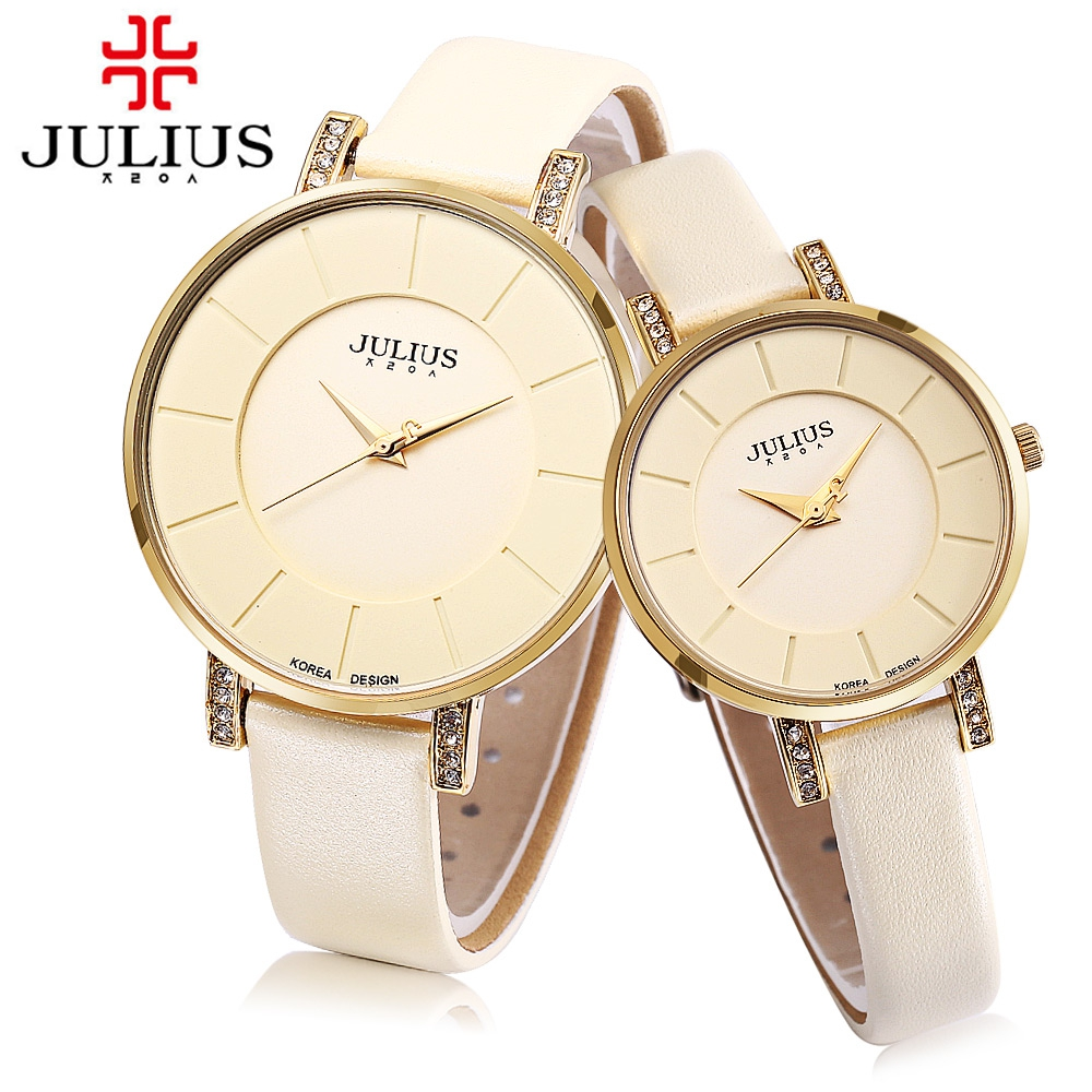 New Hot Couple Quartz Watch For Lovers JULIUS Fashion Casual Rose Gold Watch Japan Movt Genuine Leather Strap 3ATM Wristwatch genuine guarantee hongkong new cher gold partner 123 suit rose essence page 8