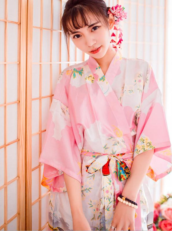 Elegant Sexy Pink Ladies' Long Satin Kimono Robe Gown Women's Casual Nightgown Bath Gown Novelty Print Night Dress One Size