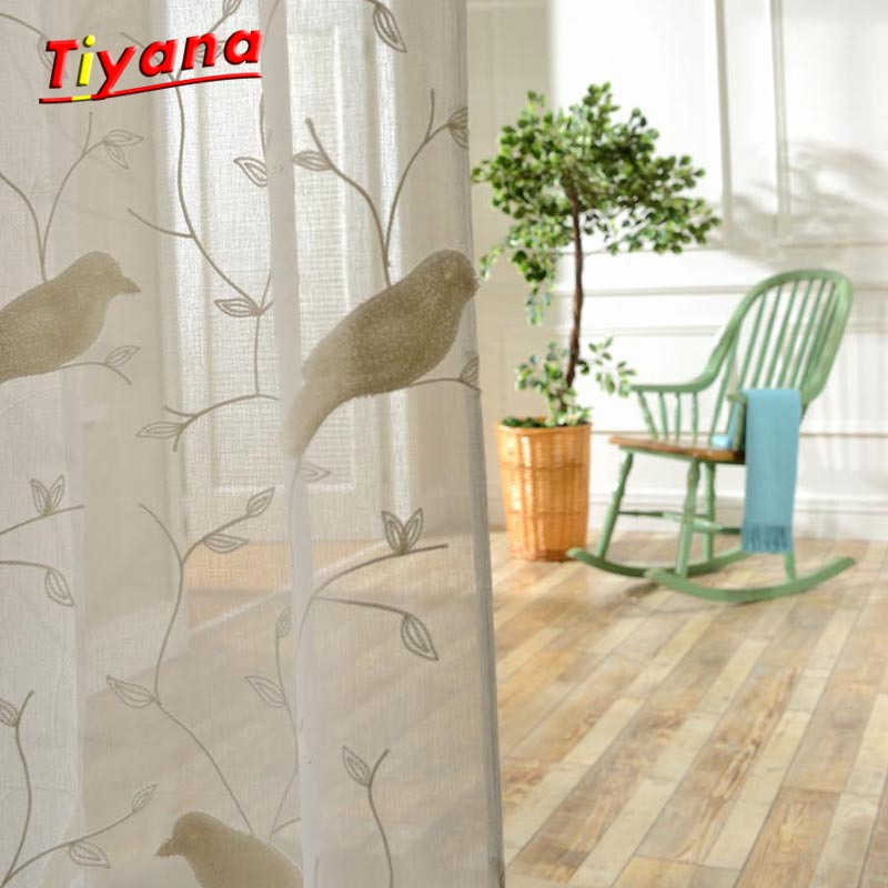 Bird Pattern 3D Embroidery Drape Sheer Curtain fabric Tulle Voile Curtain Window Rustic Fresh Cotton Bedroom Curtains WP004 *15