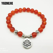 YUZHEJIE 2018 HOT High Quality Women`s Red Stone Bracelet Vintage Mala Beads Bracelet or Necklace Hot Sale Lotus Charm Bracelet(China)