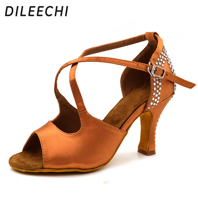 DILEECHI women s Bronze satin latin dance shoes Rhinestones Salsa Square  Ballroom dancing shoes 8cm soft outsole new arrival ccb5412c3846