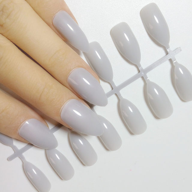Online Shop 24pcs Grey Gray White Pointed False Nails Candy Acrylic