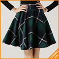 2017 high quality american apparel winter warm new fashion green gray red umbrella woolen thick plaid skirt for women #0258