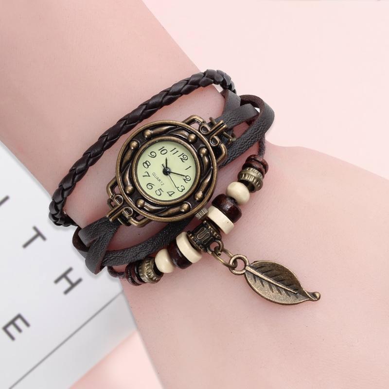 Купить на aliexpress Многоцветный высококачественный Женский кожаный винтажный кварцевый ремешок для наручных часов наручные часы в форме листа подарок на Рож...