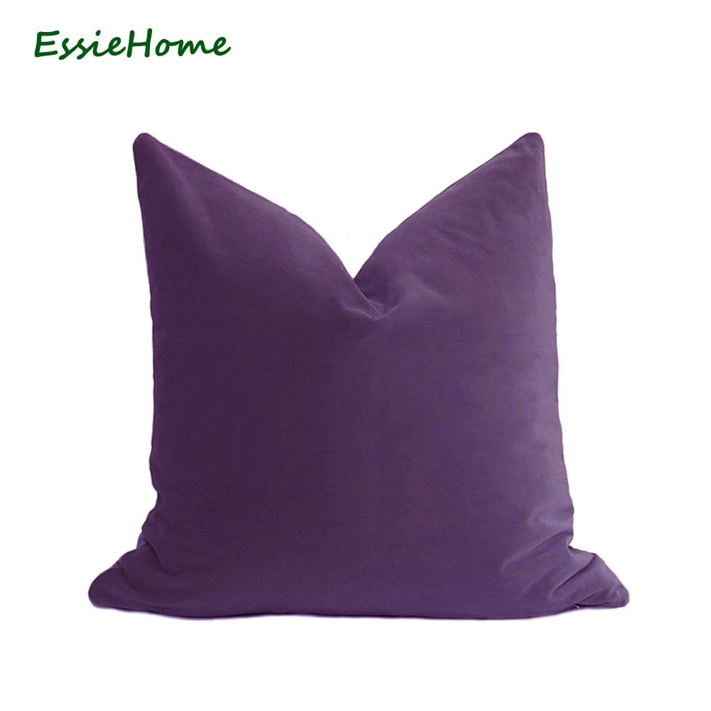 ESSIE HOME Luksus Matte Cotton Velvet Purple Velvet Pudebetræk Pudebetræk Lumbar Pudebetræk Velvet