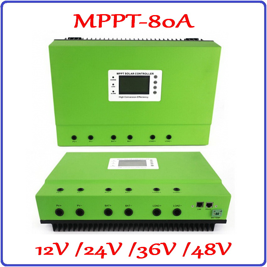 80A Solar Controller 12V 24V 36V 48V LCD PV panel Battery Charge Regulator real MPPT 99% efficiency RS232 and LAN communication free shipping 1820w 80a 24v 36v