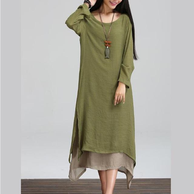 420b07a247 2019 Women Linen Vintage Dress Split Irregular Hem Casual Loose Boho Long  Maxi Dresses Plus Size 2XL 3XL 4XL Large Sizes Dresses
