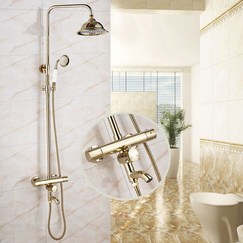 Luxury Gold Finish Bathroom Shower Faucet Thermostatic Control with 8 Rainfall Shower Head wall mounted two handle auto thermostatic control shower mixer thermostatic faucet shower taps chrome finish
