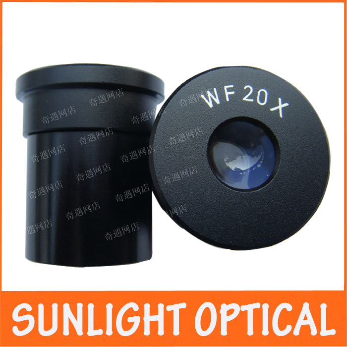 WF20X/10mm Wide Angle Optical Eyepiece Lens for Biological Microscope 23.2mm Mounting Size