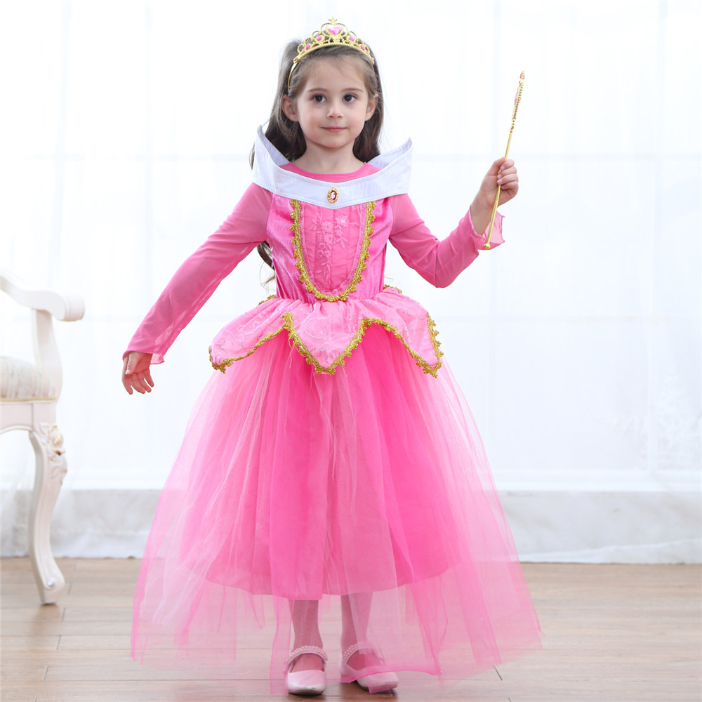 Fantasy Princess Girl Summer Dress Teen Kids Belle Cosplay Costume Children Rapunzel Sleeping Beauty Sofia Party Dress Long Gown