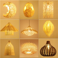 Chinese Pastoral Style Bamboo Rattan Led Chandelier Creative Bamboo Art Personality Bedroom Restaurant Clothes Shop Chandelier