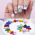 Multicolor Oval 3D Glitters Studs DIY Decoration Nail Art Tips Stickers Wheel 4BUR