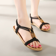 Summer women's flat sandals casual comfortable fashion women sandals beaded large size soft bottom sandals free shipping40 41 42