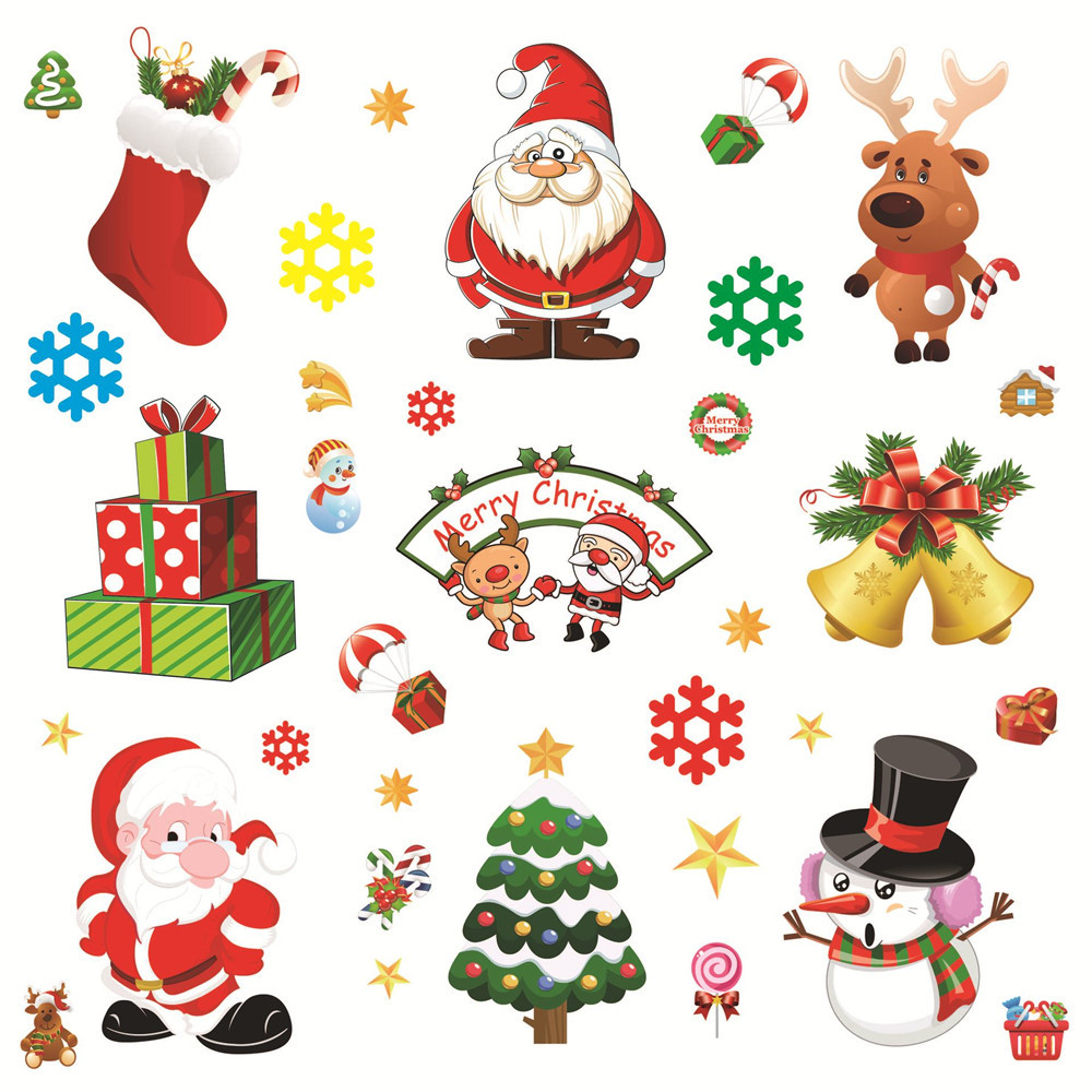 Christmas Wall Decals Removable.Us 0 8 13 Off Diy Merry Christmas Wall Stickers Decoration Santa Claus Tree Snowflake Window Stickers Removable Vinyl Wall Decals Xmas Decor In Wall