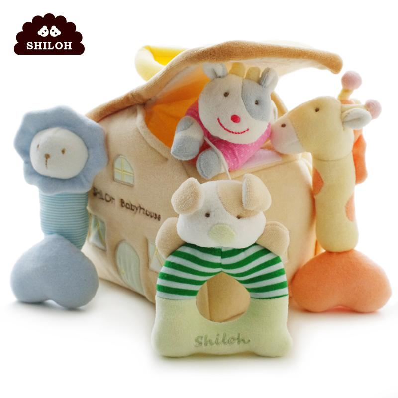 SHILOH Soft Plush Stuffed Toy Infants Baby Hand Toy Rattles High-Class Rattle Boy Girl Kid Infant Gift Newborn Toys Plush Doll