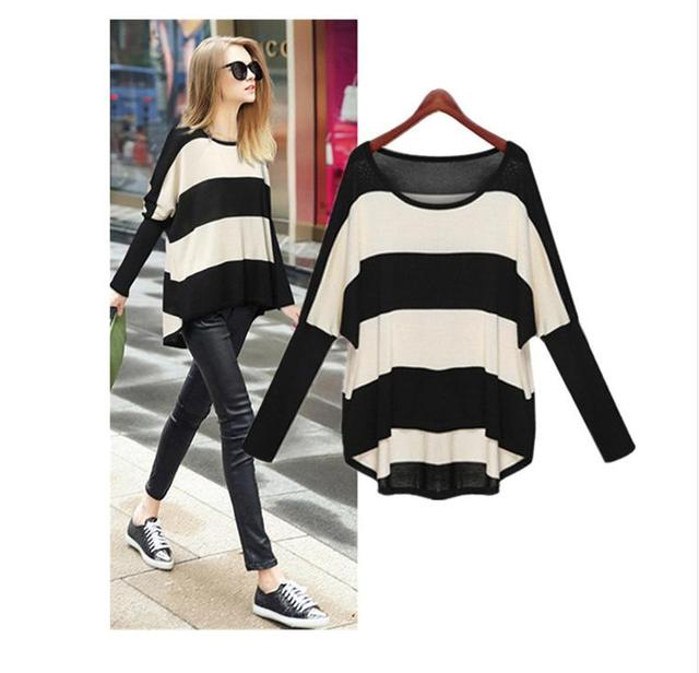 Women Loose jumper Plus Size Spring Autumn Batwing Sleeve Striped Knitted Pullover Sweater Female