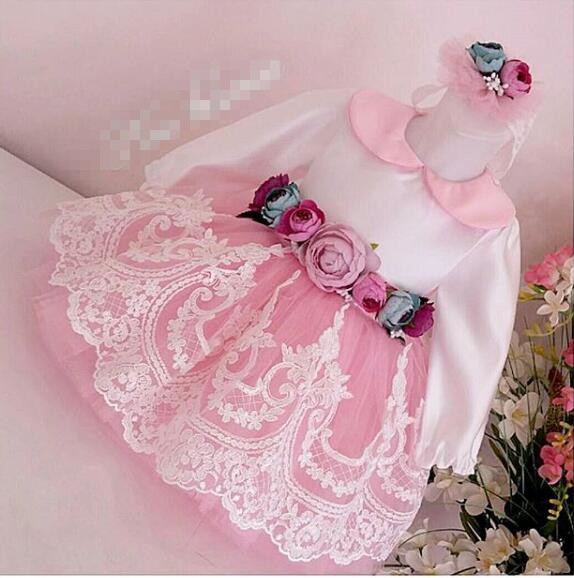 kid's Pink long sleeves ball gown dress birthday girl dress pink lace up design cold shoulder long sleeves hoodie dress