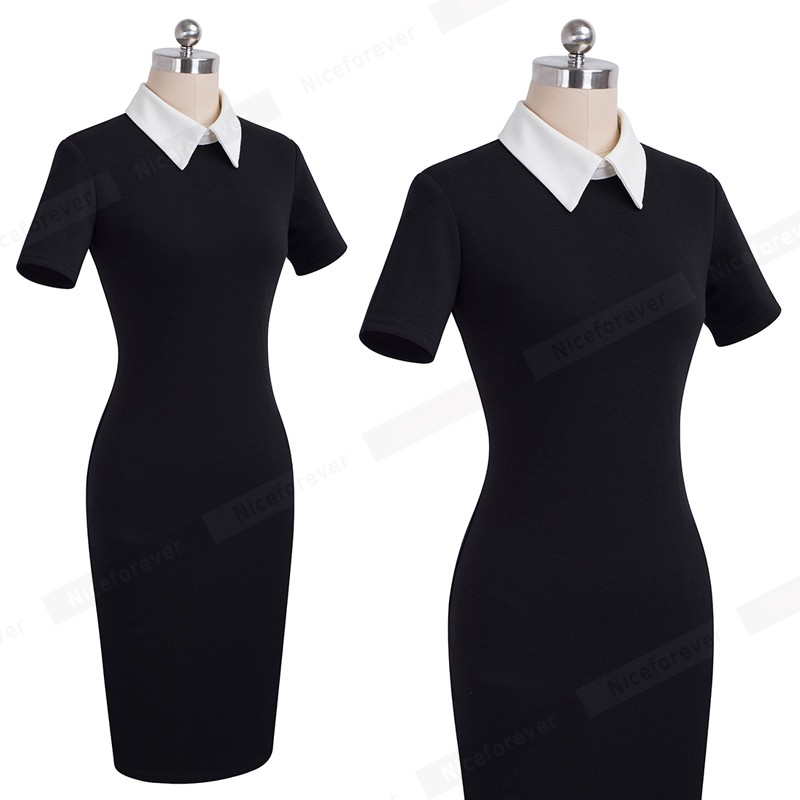 Nice-forever Career Women Autumn Turn-down Collar Fit Work Dress Vintage Elegant Business office Pencil bodycon Midi Dress 751 13