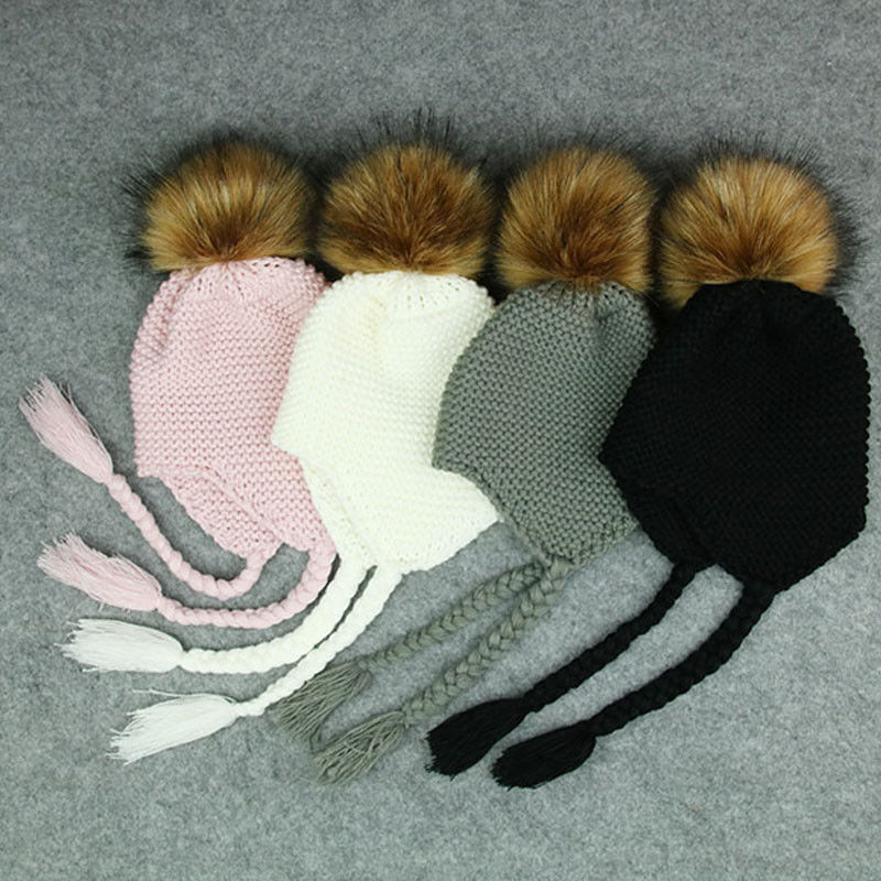 Cute Toddler Kids Girl Boy Baby Infant Winter Warm Crochet Knit Hat Beanie Cap Black Pink White Green