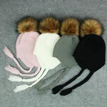 17412ee5dd5 Cute Toddler Kids Girl Boy Baby Infant Winter Warm Crochet Knit Hat Beanie  Cap Black Pink
