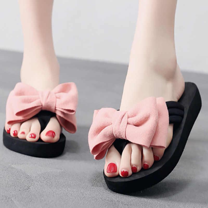 Slippers Vrouwen Slippers Zomer Strand Schoenen Vrouwelijke Sandalen Mode Boog Dames Slippers Thuis Schoenen Chaussons Femme