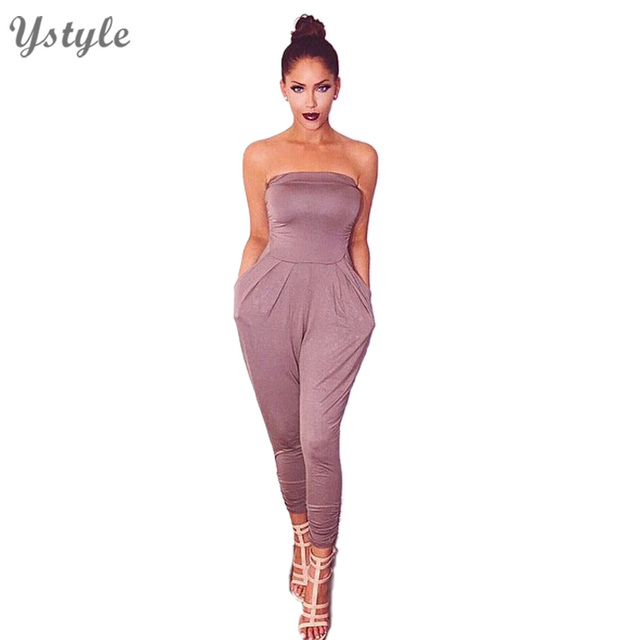 Women's Sexy One Piece Tube Long Jumpsuits With Pockets 2016 Ladies Elegant Backless Purple Bodycon Bodysuit Club Rompers NTDR33