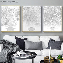 BIANCHE WALL Black White China City Map Posters Nordic Living Room Wall Art Pictures Home Decor Canvas Paintings