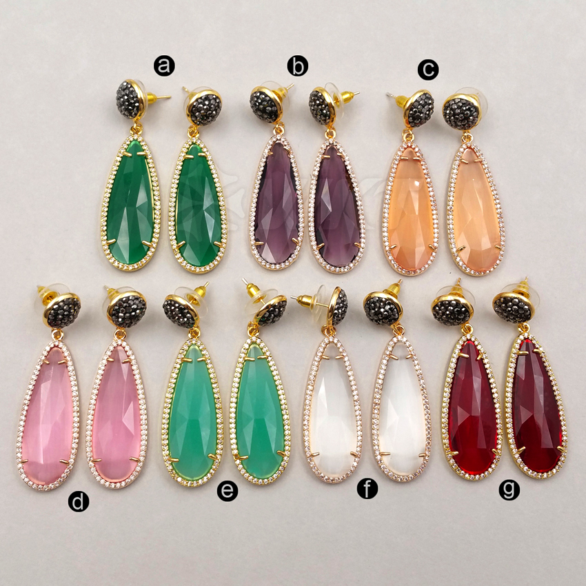 WT RE019 Wholesale Custom Colorful Natural Stone Water Drop Earrings With Cubic Zirconia Pave Glass drop