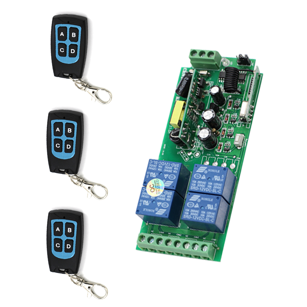 New Item 85V-250V 10A RF 4CH RF Wireless Light Remote Control Switch Receiver and 3pcs Transmitter for Intelligent Home 2 working ways rf wireless intelligent