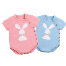 2019 Newborn Baby Boy Girls Bunny Knitting Wool cartoon Romper Jumpsuit Outfits Set Sleeveless baby boy girls clothes