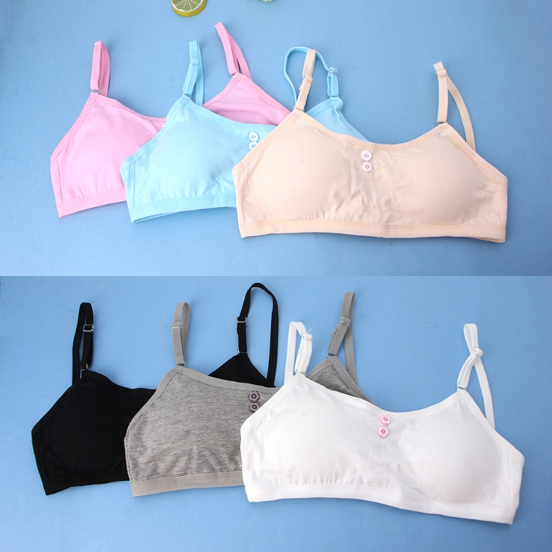Training Bras Solid Young Girls Solid Soft Cotton Bra Puberty Teenage Breathable Underwear Kid Cloth fashion girls yoga bra sports vest young female underwear training bras cotton soft teenage female fitness clothes undergarment