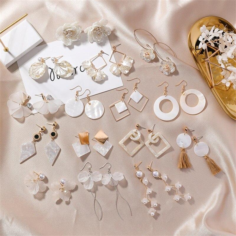 2* Korean Shell Petals Geometric Transparent Acetate Asymmetric Long Earrings Simple Branch Statement Earrings Women's Jewelry