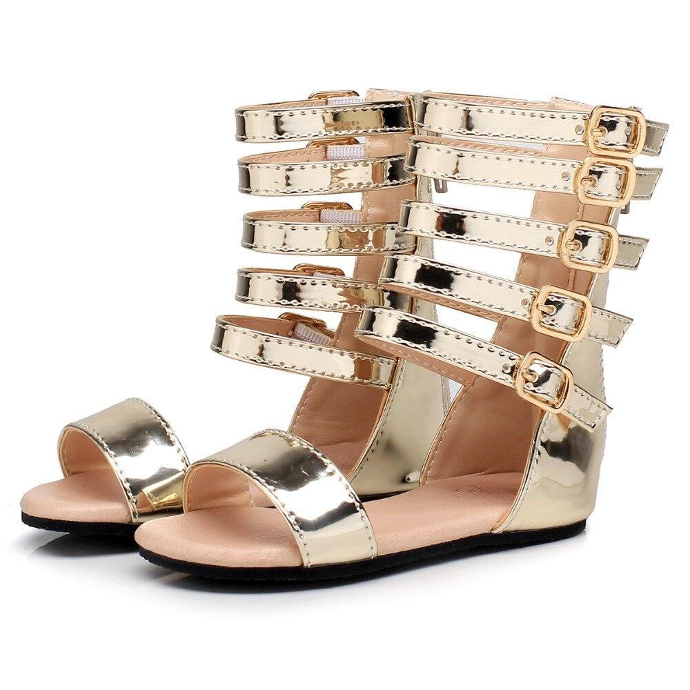 New Summer Baby Girls Gladiator Roman Sandals Children Genuine Leather Kids High Top Sandals Little Girl Fashion Shoes