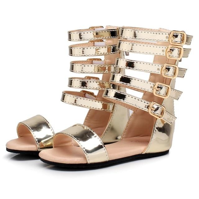 56b2620ff39 New summer baby girls gladiator Roman sandals Children genuine leather kids  High top sandals little girl fashion shoes