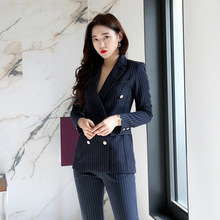Womens business suits 2019 casual striped suit jacket female Fashion pants Winter double-breasted two-piece