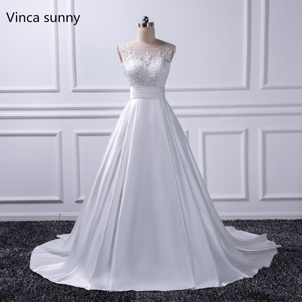Сексуальная спинки Свадебные платья 2018 Часовня Поезд Свадебные платья атласа цвета слоновой кости Vestido Noiva princesa