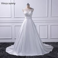 Sexy Backless Wedding Dresses 2016 Chapel Train Bridal Gowns Ivory Satin Vestido Noiva Princesa