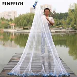 Finefish With sinker and without sinker Cast Net Fishing Network USA Hand Cast Net Outdoor Throw Catch Fishing Net Tool Gill net(China)