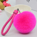 8CM rabbit fur rope key chains Fox Real rex Rabbit Fur Ball Fluffy Keychain Car Key Chain Ring Pendant Bag Charm